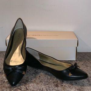 Black Leather Zephir Flats